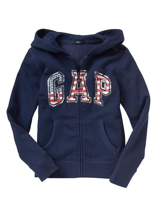 【Gap】女童裝 GAP 連帽外套 棉質刷毛長袖外套 美國國旗 亮片Logo 厚款 帽T 大學T 連帽T恤 深藍色