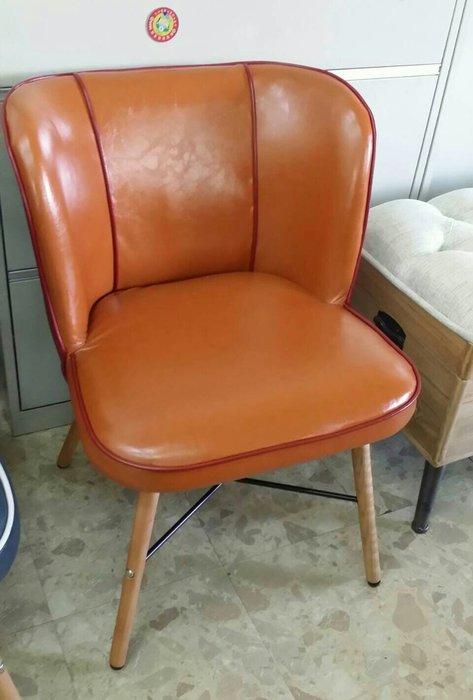 美生活館全新工業LOFT 復古鄉村風皮革木腳棒球手套造型有咖啡橘色寶藍色兩色可選客廳單椅書椅玄關椅理髮廳藝文館咖啡廳