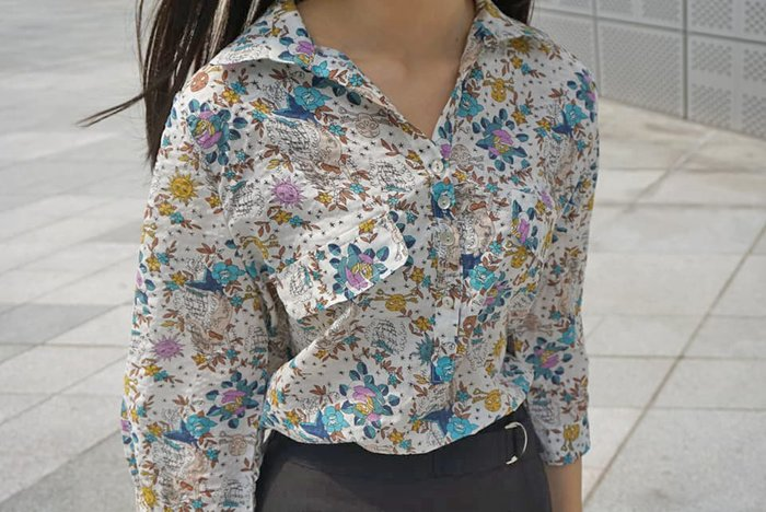 【現貨】正韓碎花太陽骷髏頭素材設計感棉麻七分袖棉麻衫