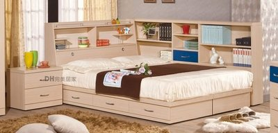 【DH】貨號VC219-4A《艾笛生》5尺白橡書架雙人抽屜床架組˙含收納櫃+床頭櫃˙主要地區免運
