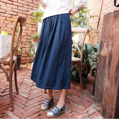 ☆Bubble Lady ☆ 韓國訂單【D369】無印風 簡約 九分 牛仔 寬褲裙  韓妮 可樂果