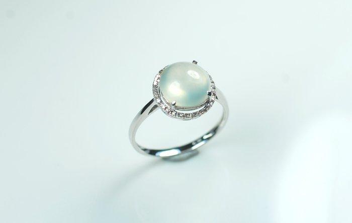 【玉人不俗】翡翠~18K金~鑲鑽~玻璃種蛋面~~9.5MM~戒指~『A貨』