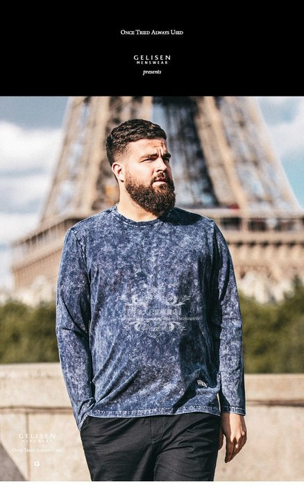 『胖哥大尺碼專賣店』大尺寸GELISEN大碼男裝 胖子體恤時尚休閑水洗做舊藍長袖t恤男