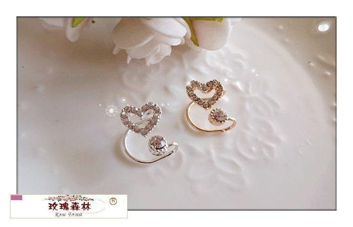 玫瑰森林-- ☆°*  美麗嚴選~ 優雅美人 鑲崁水鑽縷空愛心耳骨夾式 耳環(單只)