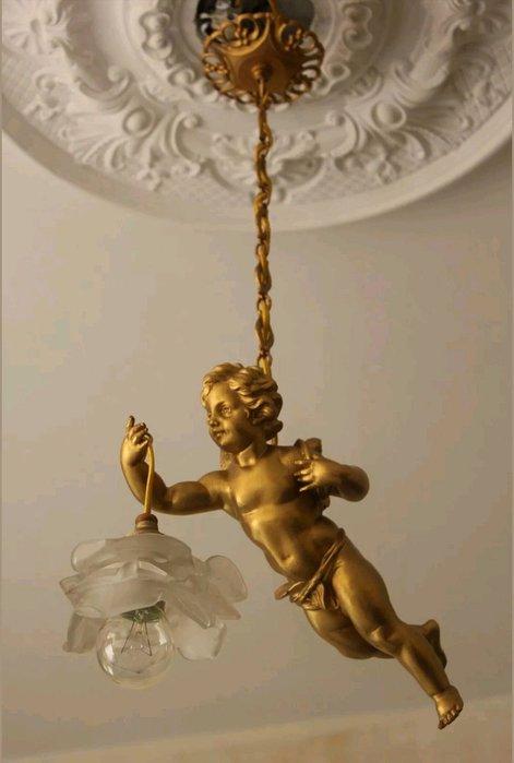 【波賽頓-歐洲古董拍賣】歐洲/西洋古董 法國古董 拿破崙三世風格 銅雕天使吊燈/燭台1燈  (已售出)