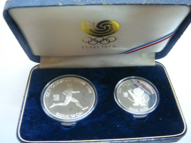 1988年韓國漢城奧運紀念銀幣10000+5000WON一套.品項如圖
