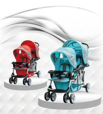Grace[恩典]  [babybabe] B329歐風雙人嬰兒手推車**藍色 / 紅色