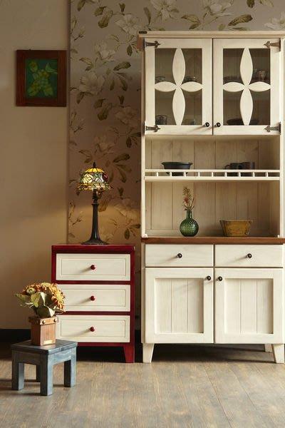原木工坊~實木家具量身訂做  歐式鄉村風雙色收納櫃