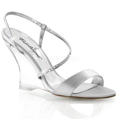 Shoes InStyle《四吋》美國品牌 FABULICIOUS 原廠正品緞面透明楔型高跟涼鞋 有大尺碼 出清『銀色』