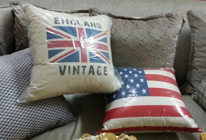 美生活館---全新 鄉村風 工業LOFT 風 ZAKKA 日式雜貨風 --- 美國國旗 圖案抱枕--二款可選