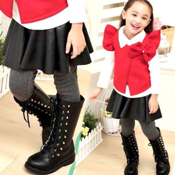 【班比納精品童裝】毛毯毛黑皮革裙褲-黑