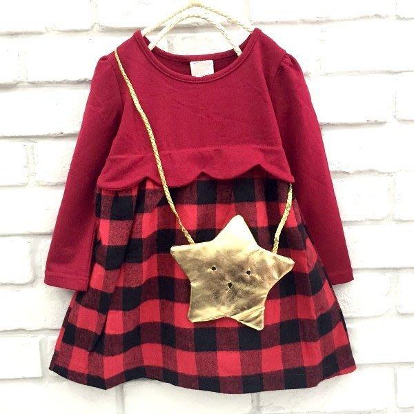 【班比納精品童裝】氣質波浪拼接毛料格紋洋裝-紅(附星星揹帶)