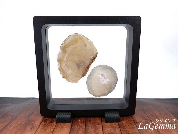 【寶峻水晶】新品~最新穎的時尚居家裝飾【漂浮寶石相框】原礦瑪瑙片 FF-31 方形黑色相框可打開更換