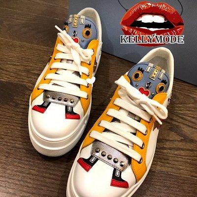 ♥kellymode♥全新正韓18早春新款 可愛糖果色 機器人 鉚釘加工 繫帶 真皮小白鞋 休閒鞋 運動鞋 2色