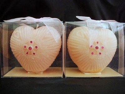 ~蘇菲亞精品傢飾~玫瑰粉紅色心型蠟燭