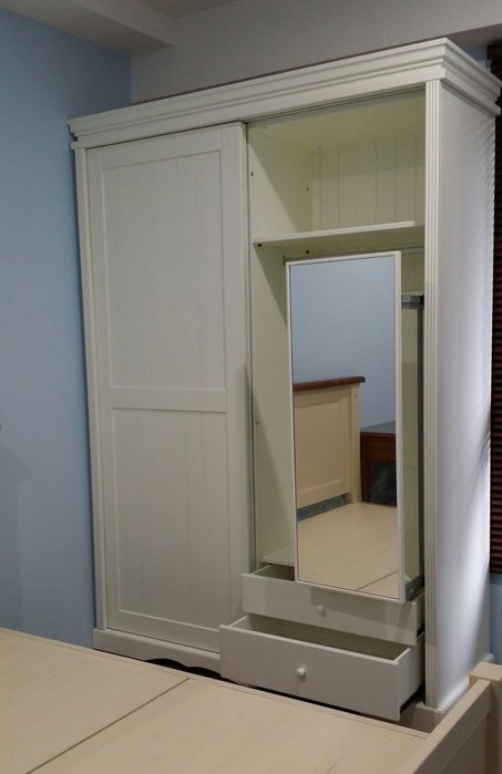 美生活館客訂全原木白色 雙推門 衣櫃衣櫥(附鏡)置物櫃收納櫃店面居家民宿餐廳可依尺寸顏色再報價