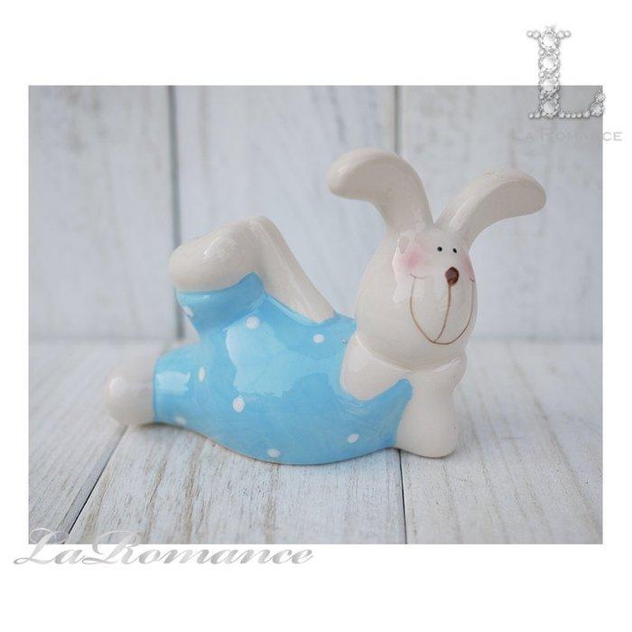 【COCORO 童趣物語特惠系列】 陶瓷兔子擺飾 (藍) / 動物 / 小孩、兒童房