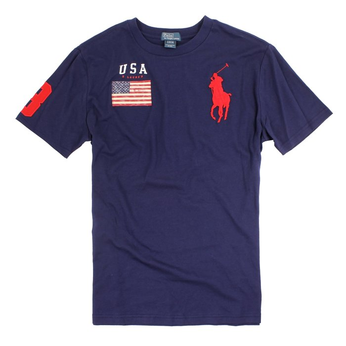 美國百分百【Ralph Lauren】短袖 T恤 大馬 RL T-shirt 國旗 男 上衣 短Tee 深藍色 C878