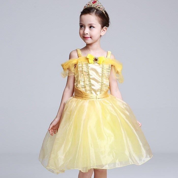 【Kathie Shop】女童美女與野獸貝兒公主Belle禮服裙表演服cosplay萬聖節聖誕PARTY攝影服