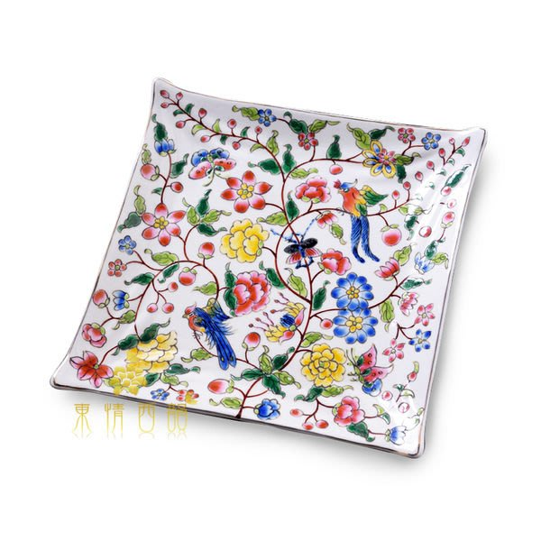 【芮洛蔓 La Romance】東情西韻系列棕枝花鳥方形盤7吋