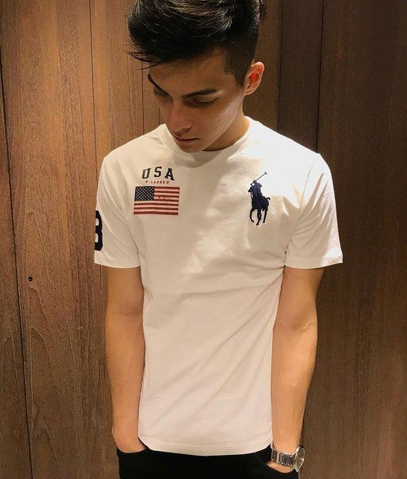 美國百分百【Ralph Lauren】 T恤 大馬 RL T-shirt 國旗 男 上衣 短Tee 白色 棉T C878