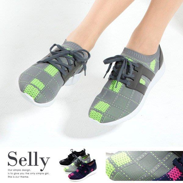 MIT極輕量-格紋牛皮綁帶記憶鞋墊休閒鞋3色-Selly-沙粒-(MIT134)