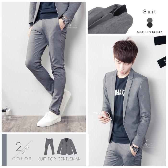 。SW。【K32113】灰28 正韓 韓國製 修身 不易皺!!觸感優 挺實 彈性西裝布 素面 窄版 雅痞 西裝褲 仿木扣