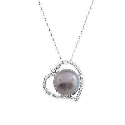 【JHT 金宏總珠寶/GIA鑽石專賣】16mm天然黑珍珠鑽墜/材質:18K(PP00062)