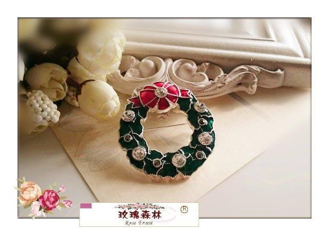玫瑰森林-- ☆°*美麗嚴選 ~ 歡樂耶誕 X'mas~ 精緻聖誕環 別針 胸針(單只價)