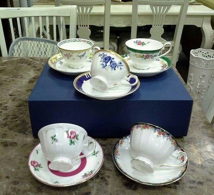 美生活館 -- 全新原裝日本品牌Sango骨瓷玫瑰下午茶花茶杯組(五杯盤)店面/居家/佈置/擺飾/送禮/民宿/餐廳
