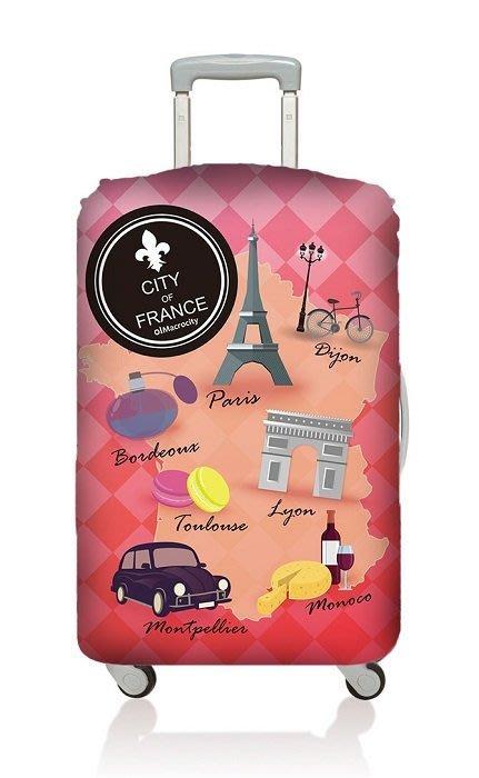 Macrocity彈性行李箱套S-法國和環遊世界各一個, Size S, 21吋以下行李箱適用,優質彈性布