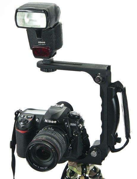 呈現攝影-LVSHI 800型 多功能摺疊手把 L型閃燈支架 L架 HL架 雙機架 180度旋轉 相機/燈腳架 ※