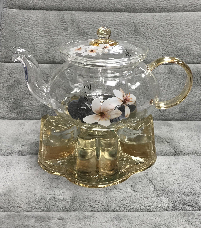 台灣亞美 油桐花 長嘴玻璃耐熱花茶壺