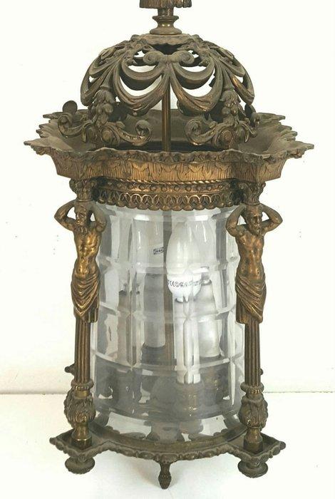 【波賽頓-歐洲古董拍賣】歐洲/西洋古董 法國古董 巴洛克風格 黃銅玻璃燈籠吊燈/燭台 4燈(尺寸:113×30×30公分)