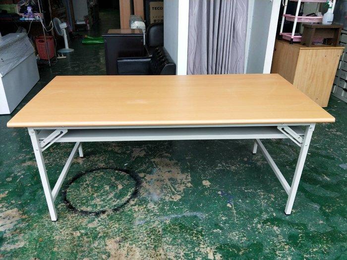 非凡二手家具 全新木紋面3×6尺折合會議桌*折合桌*折腳桌*長桌*工作桌*辦公桌*電腦桌*折疊桌*洽談桌