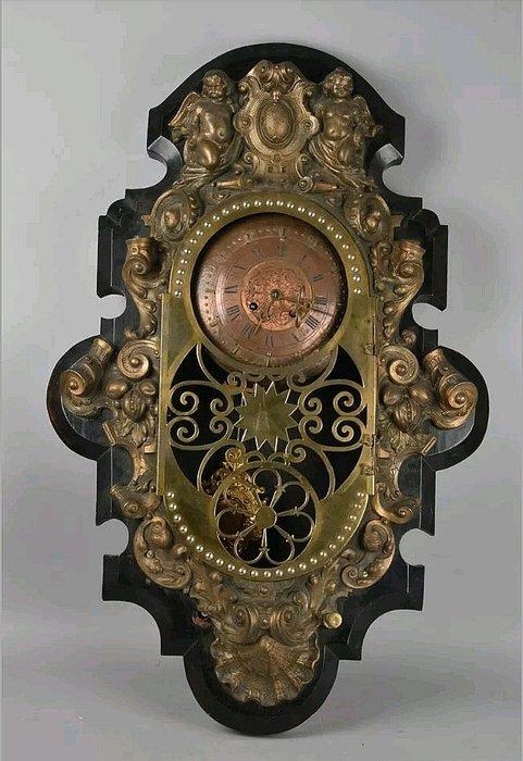 【波賽頓-歐洲古董拍賣】歐洲/西洋古董 德國古董 18世紀 德國 大型黃銅天使古董機械壁鐘(尺寸:84x55×16公分)