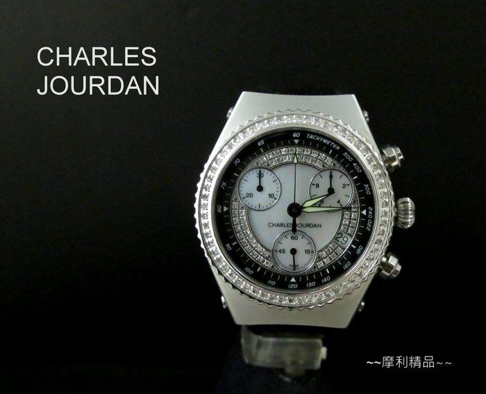 【摩利精品】CHARLES JOURDAN 佐登鑽石計時錶*真品*