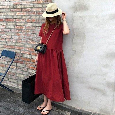 Bellee  正韓 透氣舒適短袖娃娃棉麻洋裝   (2色)  【GT51520】預購