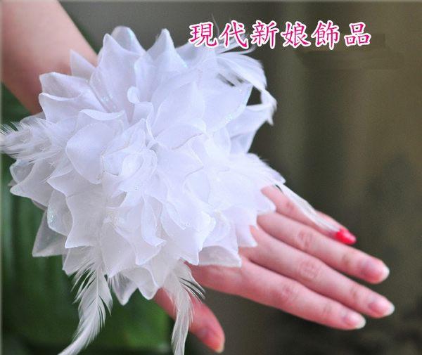新娘飾品 內衣肩帶 婚紗禮服配飾 宴會飾品 水鑽新娘配飾~C~576~白色th003手腕花
