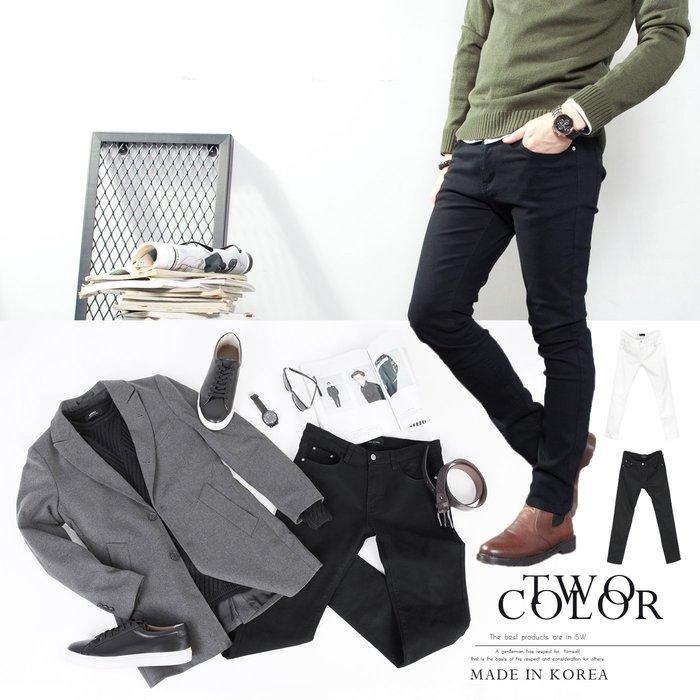 。SW。【K91325】正韓PE 韓國製 雅痞 修身顯瘦 英倫極簡 彈性佳 觸感優 黑白素面 窄版 彈性牛仔單寧長褲