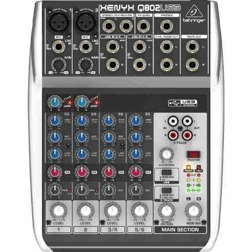 【六絃樂器】全新 Behringer XENYX Q802 USB 混音器 錄音介面 / 工作站錄音室 專業音響器材