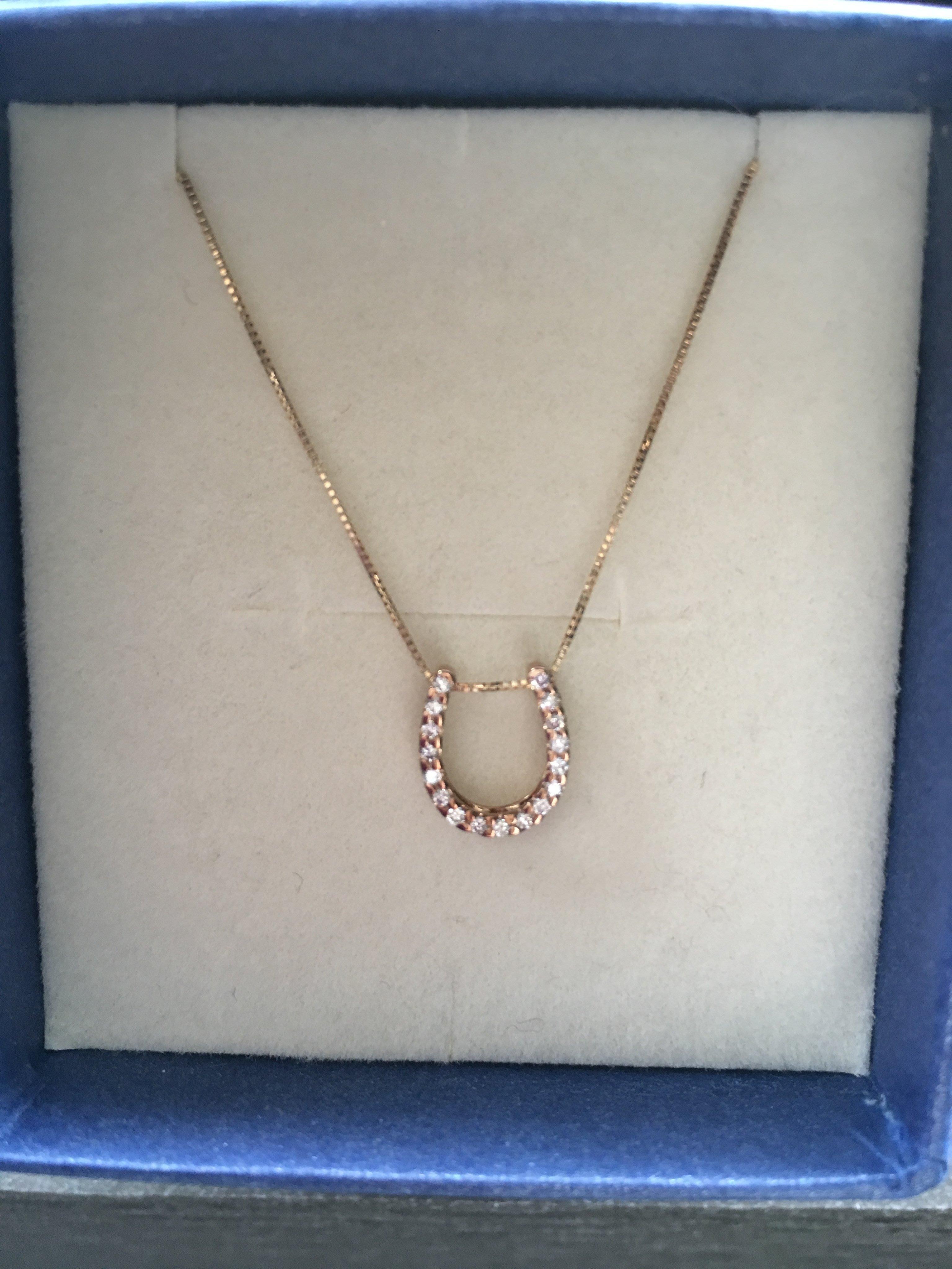 日本品牌 festaria 馬蹄鐵黃K鑽石項鍊K10