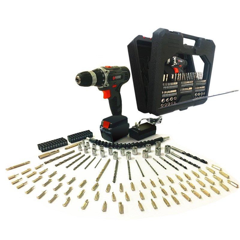 鋰電電鑽 Plessey 21V 灰色套裝 附塑盒鑽頭套筒108件工具組 充電電鑽/電動起子/電動工具 保固半年