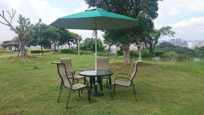 [兄弟牌戶外休閒傢俱]鋁合金高背紗網椅+105cm鋁合金庭院桌+9尺玻纖遮陽傘+12kg玫瑰鑄鐵傘座