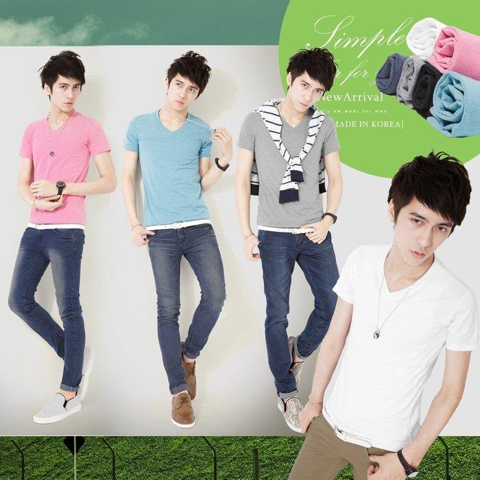 。SW。【K11176】正韓 韓國製 修身 小防皺 彈性輕精梳棉 觸感佳 多色 素面 彩色 V領 短袖T  cotton