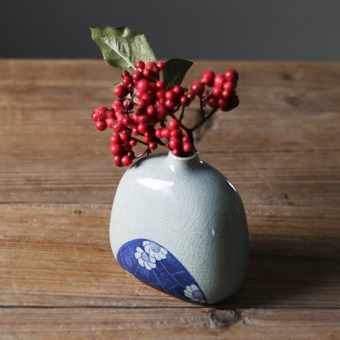【Art in THE】日式仿古金繕花器 陶瓷花瓶 手繪小花器 陶瓷花瓶 瓷器擺件花插 茶道擺飾 居家店面營業廳裝飾佈置