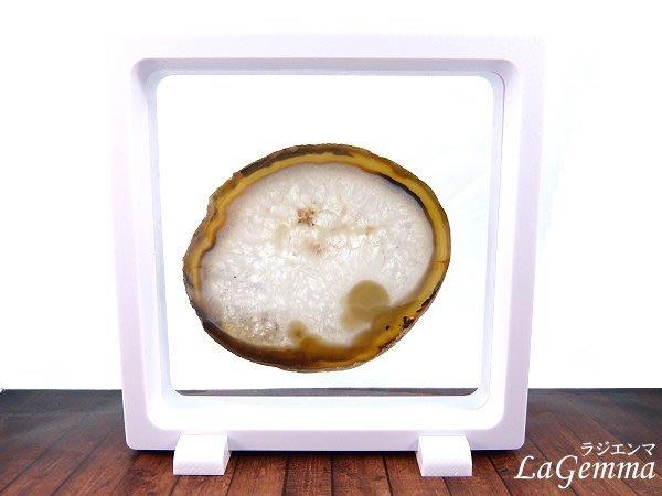【寶峻晶石】新品~最新穎的時尚居家裝飾,【漂浮寶石相框】綺麗紋路~透光瑪瑙片 FF-35 方形白色相框可打開更換