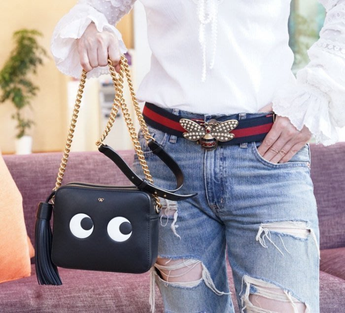 Anya Hindmarch 912068 Eyes Cross Body Chain Bag 眼睛斜背包 黑