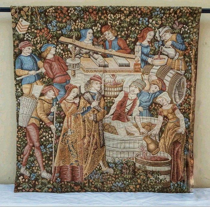 【波賽頓-歐洲古董拍賣】歐洲/西洋古董 法國早期 19世紀 大型葡萄收穫壁毯/掛毯(尺寸:135x132公分)