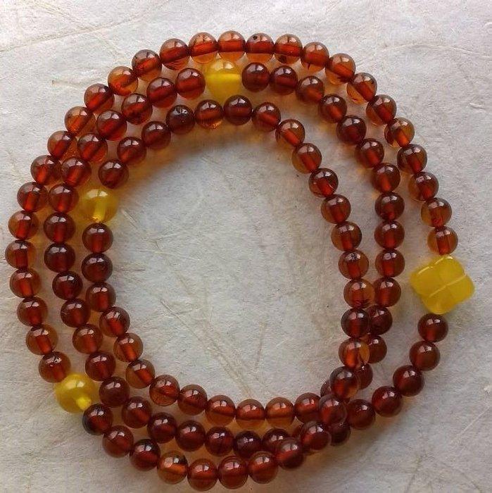 面賞  ~紅珀108數珠兒~ 波羅的海100%天然琥珀 蜜蠟 原礦 實品拍攝